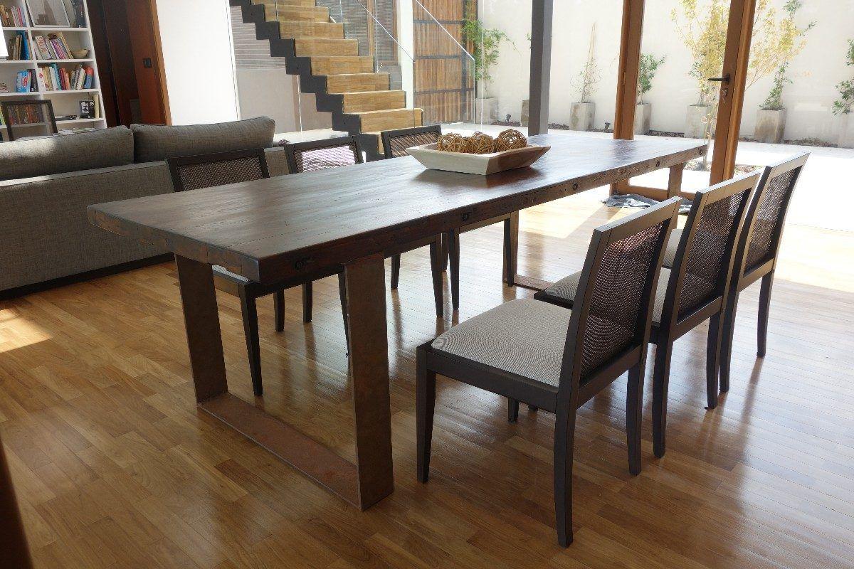 Mesa madera y hierro espectacular madera mesas y mesa for Como hacer sillas de madera para comedor