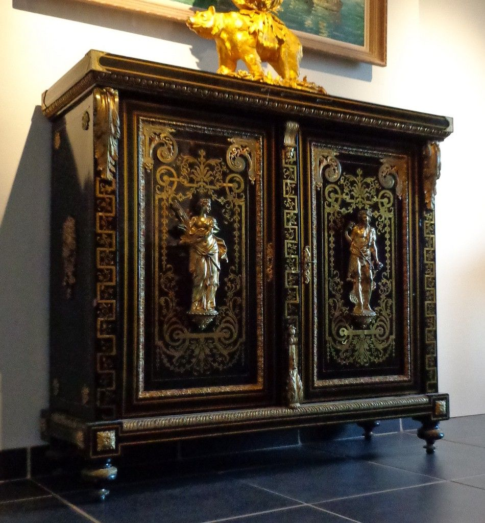 meuble d 39 appui droit 2 portes en marqueterie boulle style louis xiv mobilier louis xiv. Black Bedroom Furniture Sets. Home Design Ideas