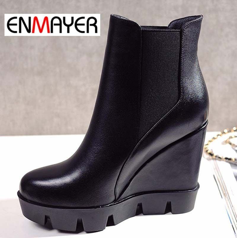 $153.06 (Buy here: http://appdeal.ru/dcg3 ) Airfour Autumn Winter Women Boots Wedges High Heels Sexy Round Toe Shoes Fashion Leather Boots Work Wear Ankle Boots For Women for just $153.06