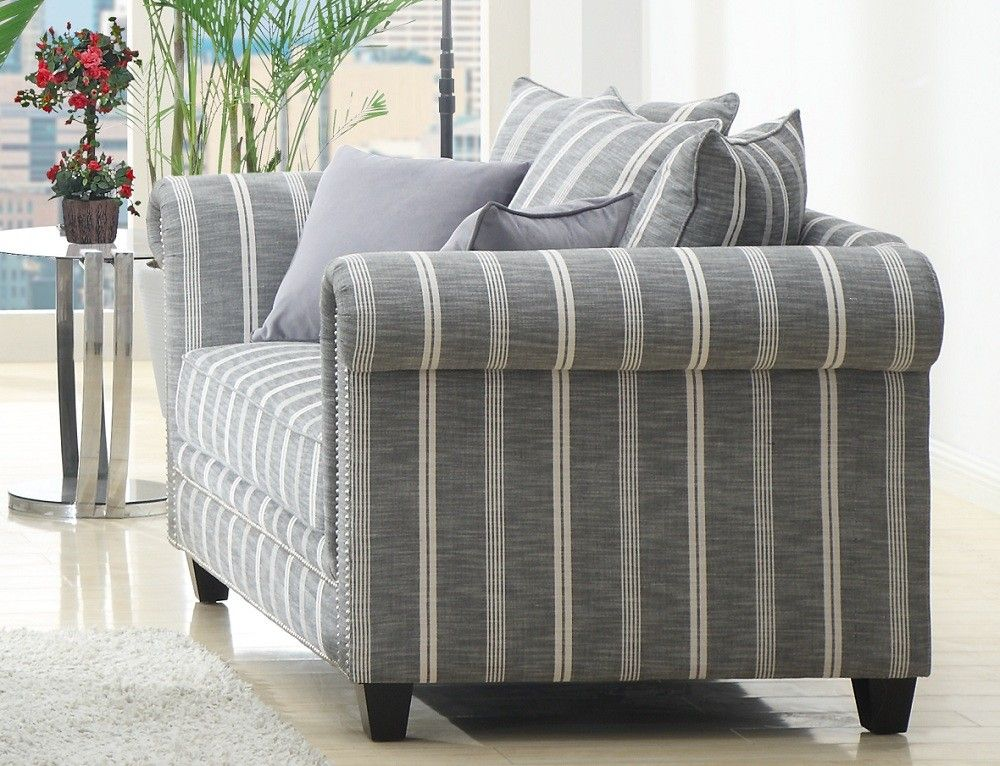 Gray Striped Sofa Grey Fabric Love Seat With Nailhead Trim The Madeline