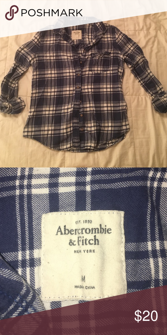 Abercrombie & Fitch Cozy Flannel Gently worn flannel! Not very stretchy, but the blue and white are a great compliment to any summery outfit. Adorable chest pocket detail. Feel free to ask me questions! :) Abercrombie & Fitch Tops Button Down Shirts