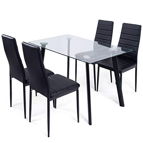 Imtinanz Modern style 5-Pcs Dining Set Tempered Glass Top Table  4