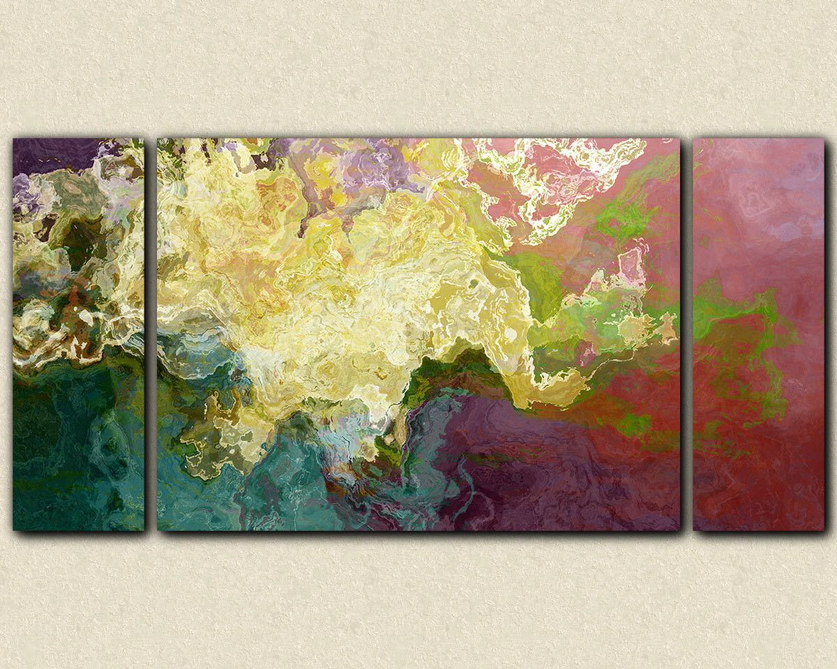 Abstract art oversize triptych stretched canvas print, in teal ...