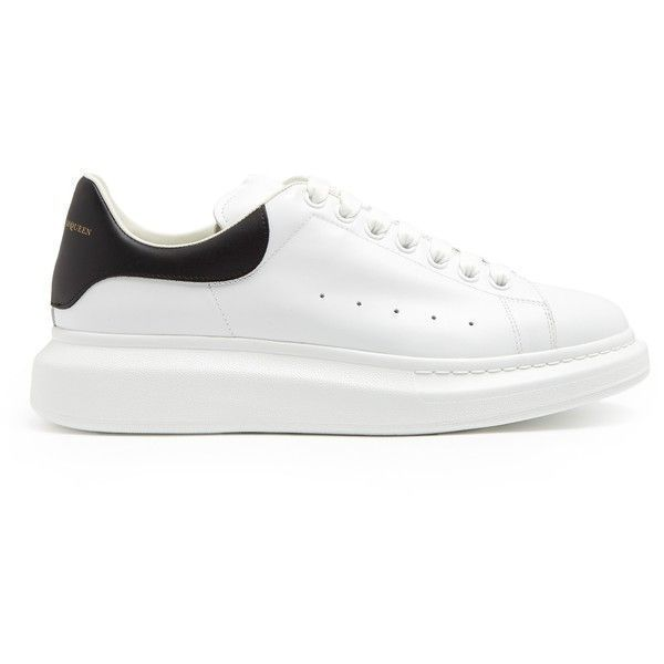 Alexander McQueen Raised-sole low-top leather trainers ($460) ❤ liked on Polyvore featuring men's fashion, men's shoes, men's sneakers, shoes, mens perforated leather shoes, mens white leather sneakers, mens black shoes, mens low profile sneakers and mens leather shoes #alexandermcqueenshoes #shoessneakers