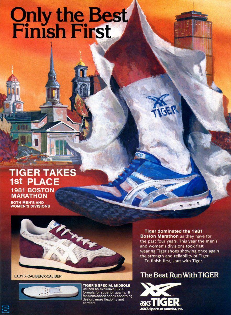 a37e97a2dfb4 Vintage Ad  ASICS Tiger X-Caliber - 1981 Boston Marathon