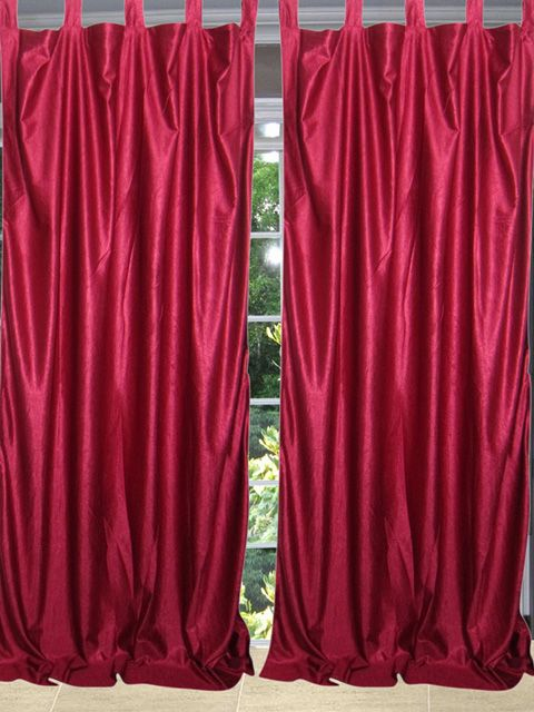 Cardinal Red 2 Window Dressing Sari Curtain Drape Panels Red