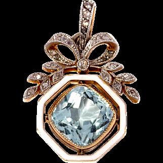 Fable and Windsor  Exquisite Aquamarine , Enamel and Diamond Belle Epoque Pendant Ca1915