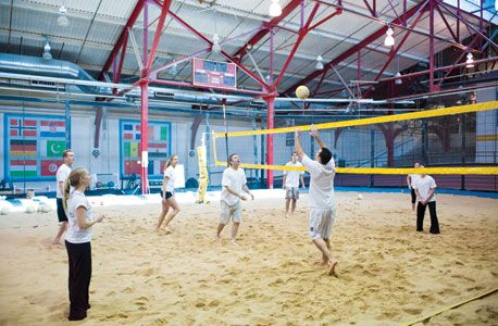 The Sports Center at Chelsea Piers indoor sand volleyball court is ...