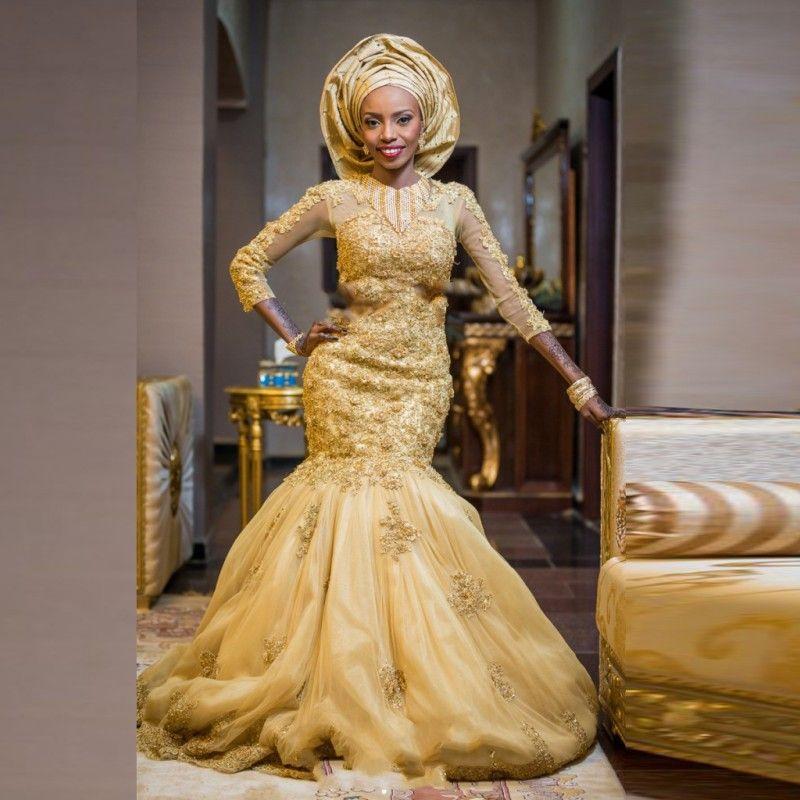 gorgeous african gold wedding dresses long sleeves mermaid luxury