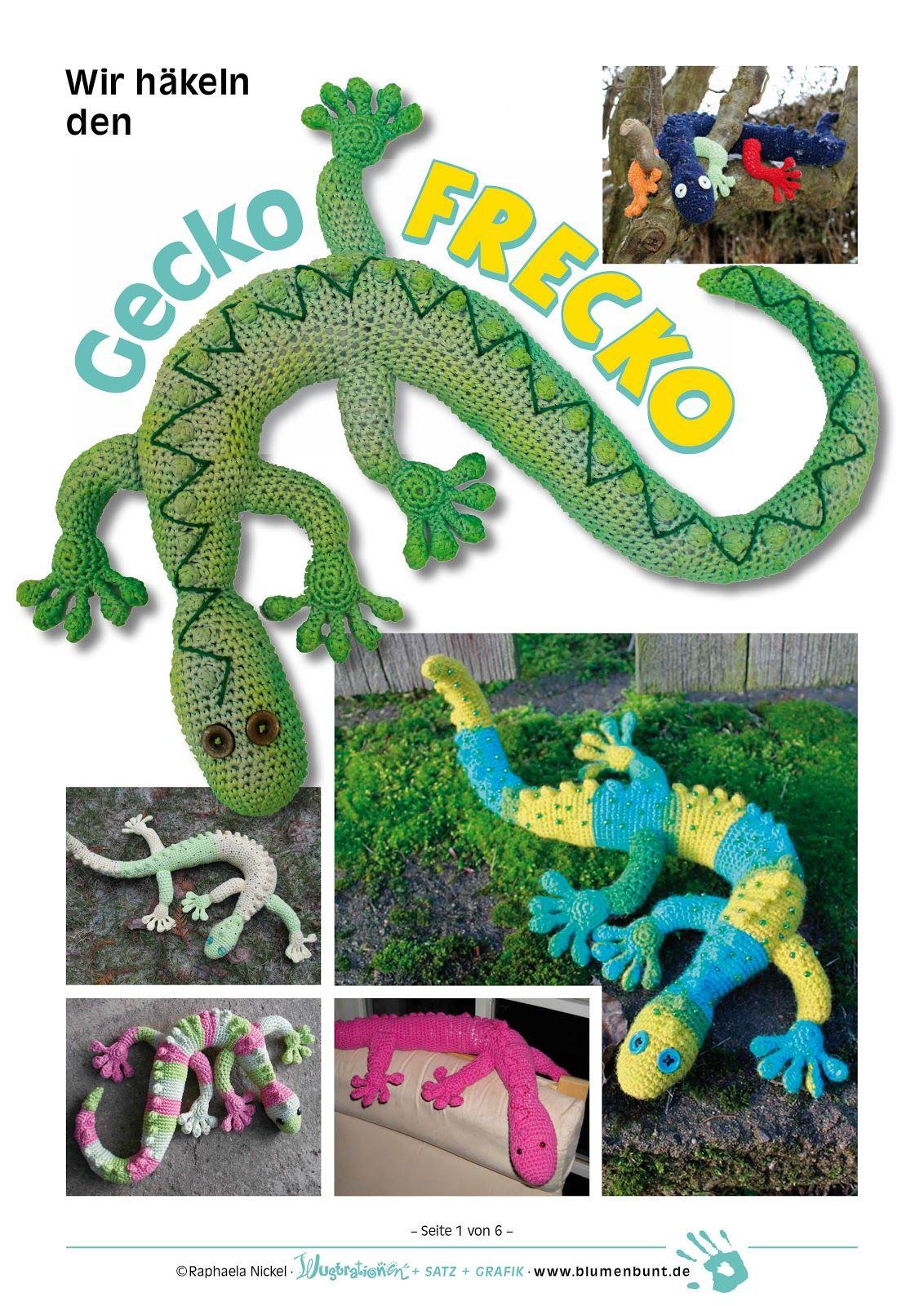 Szydekowy gekon szydekowanie crocheting pinterest geckos blumenbunt gecko frecko free gecko pattern in german bankloansurffo Images