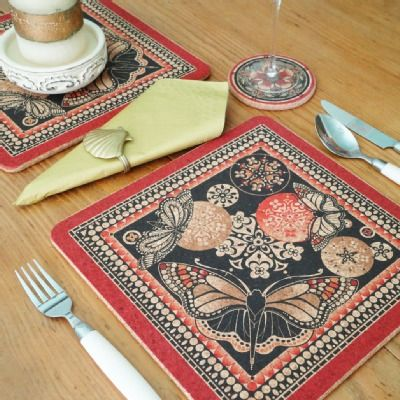 Two Red U0026 Black Butterfly Square Placemats   CPS002RB