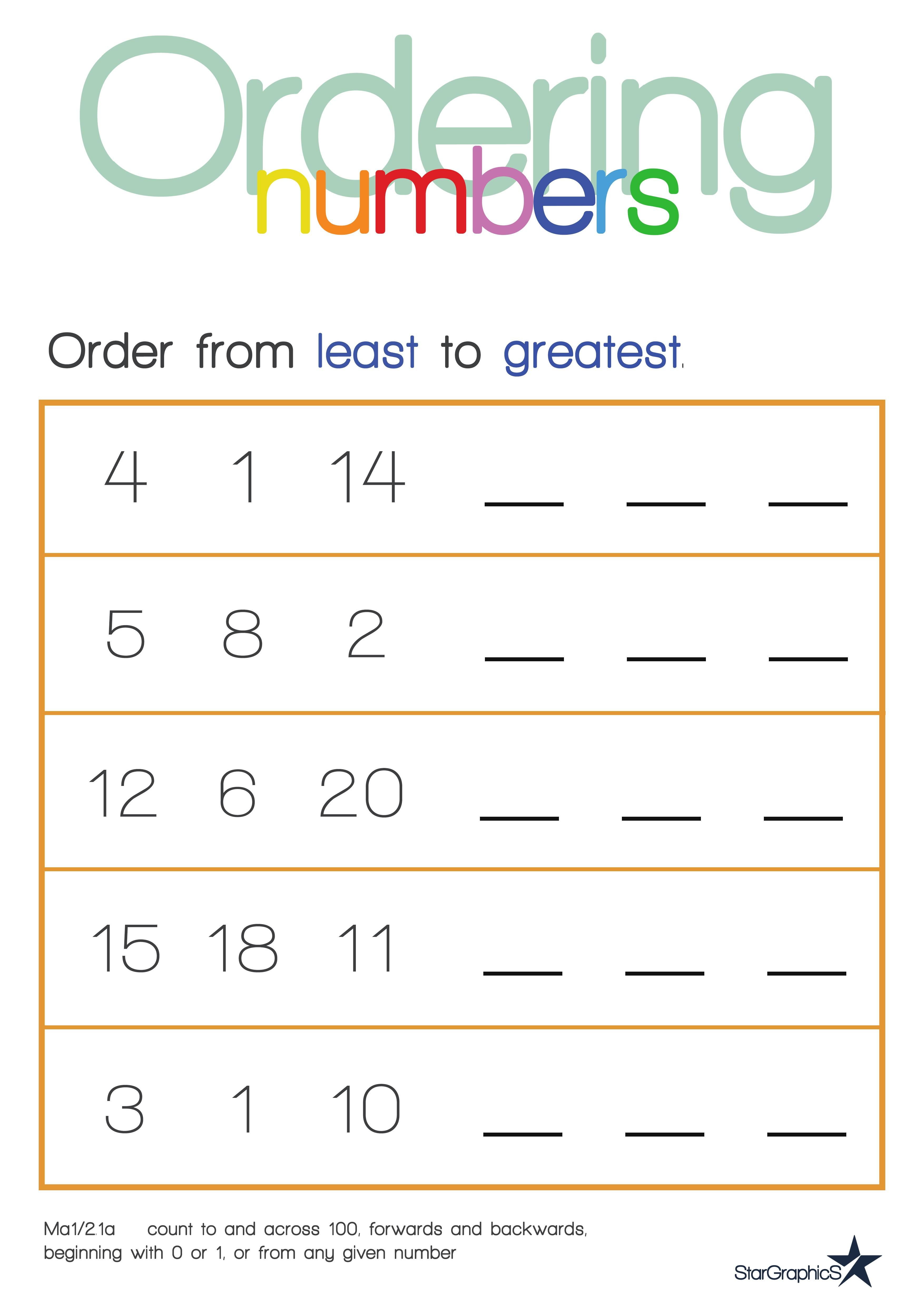 Ordering Numbers Least To Greatest Ordering Numbers Printable Worksheets Common Core State Standards [ 4961 x 3508 Pixel ]