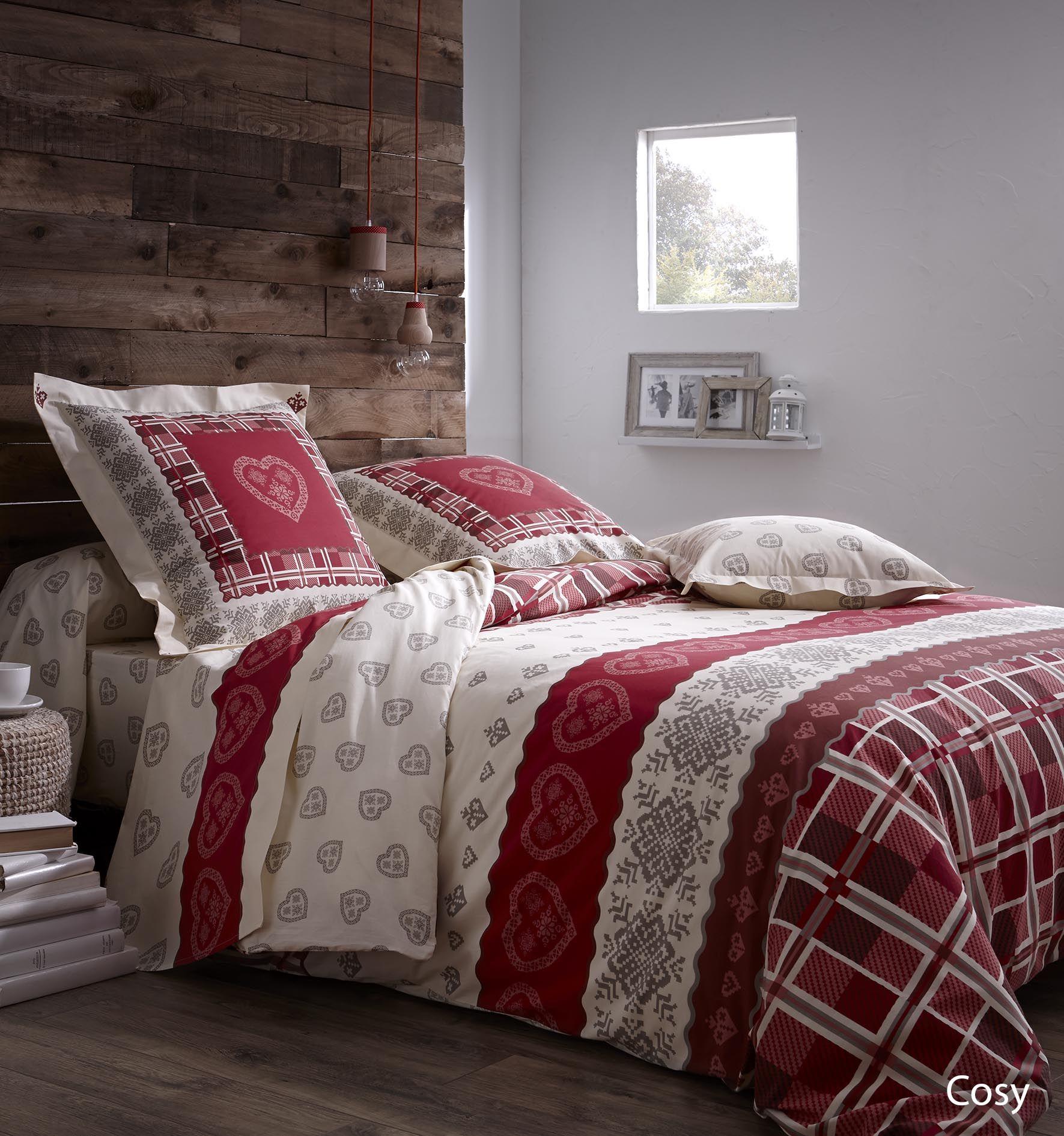 cosy nouveaut linge de lit made in france montagne rouge coeur ambiance maison et. Black Bedroom Furniture Sets. Home Design Ideas