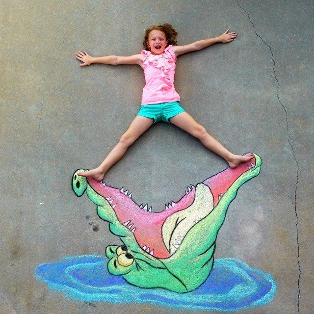 Tick Tock Crocodile Chalk Drawing With Images Street Art