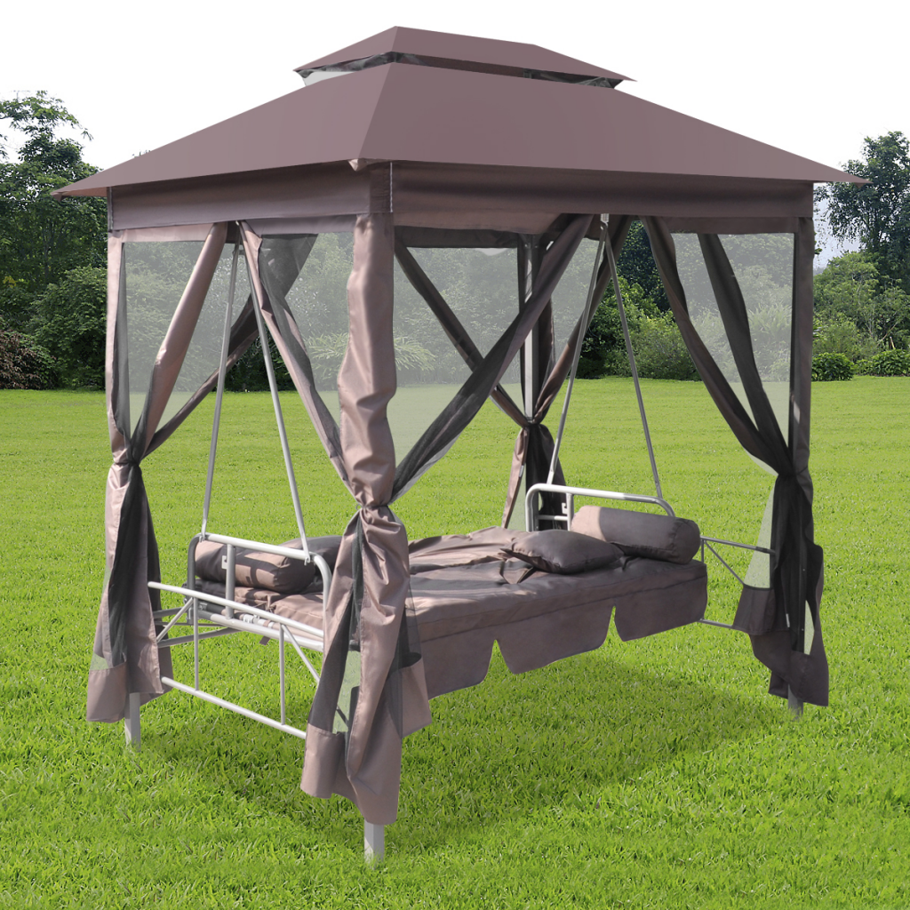 This Outdoor Gazebo Swing Chair Comfortably Seats Two Persons And Provides Shade From The Sun With Its Large Canopy On Patio Bed Swinging Chair Outdoor Gazebos