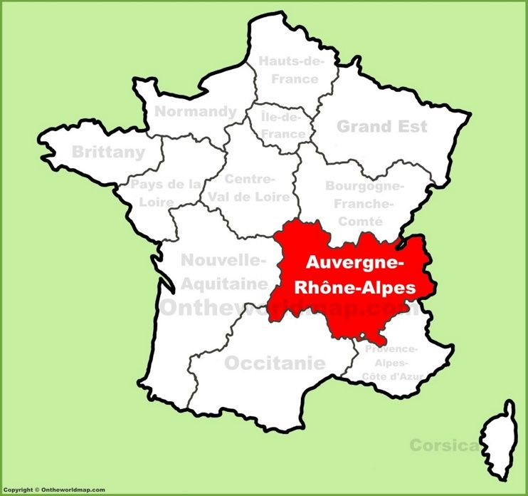 AuvergneRhneAlpes location on the France map Maps Pinterest