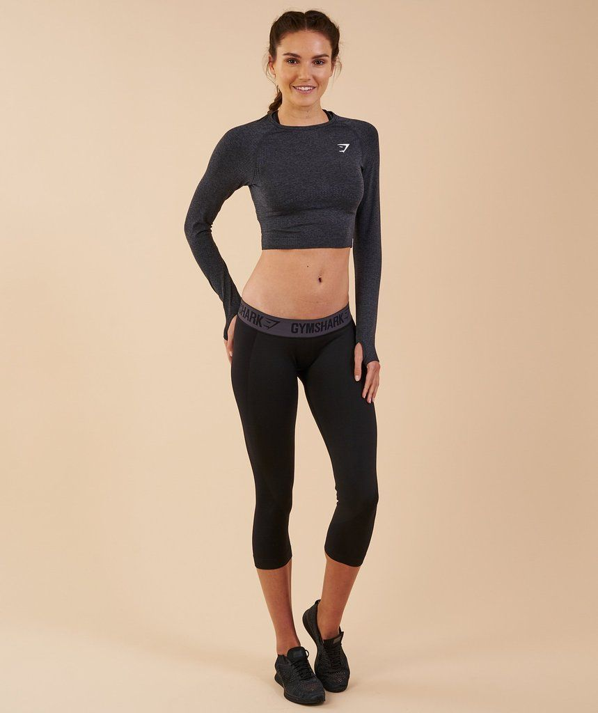 6c301cafdbe738 Gymshark Vital Seamless Long Sleeve Crop Top - Black Marl 1 ...