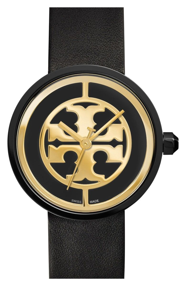 65f167a27 Free shipping and returns on Tory Burch 'Reva' Logo Dial Leather Strap Watch,  36mm at Nordstrom.com. Named after Tory Burch's mother, the Reva logo watch  ...