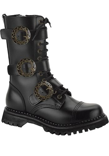 Demonia Riot 12 lace up and buckle strap leather calf boot