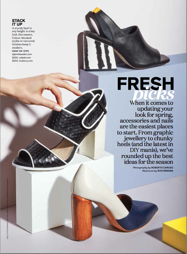 Attractive Spring Accessories Fresh Picks, Chatelaine Editorial Photography By Roberto  Caruso; Manicures By Rita Remark