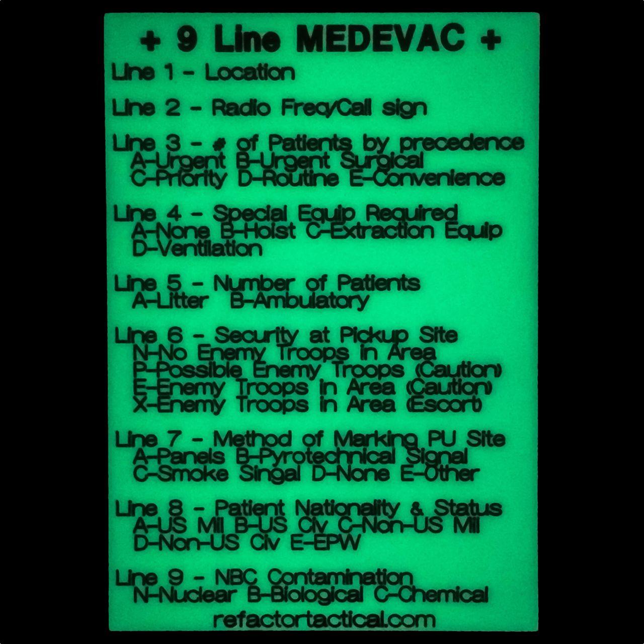 9 line medevac card army