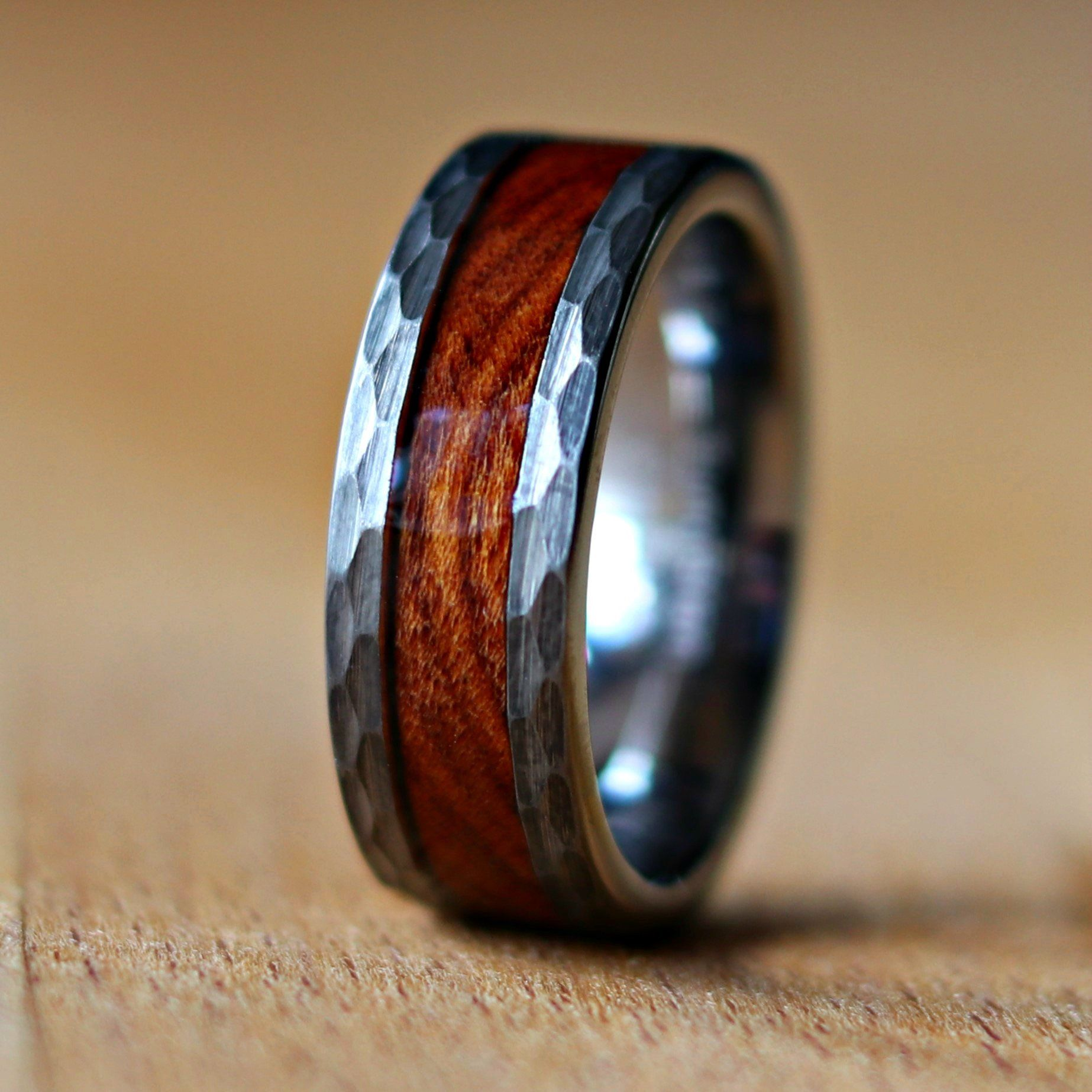 Ironwood Wood Ring Hammered Men S Ring Hammered Tungsten Etsy In 2021 Wood Wedding Band Rings For Men Mens Wedding Bands