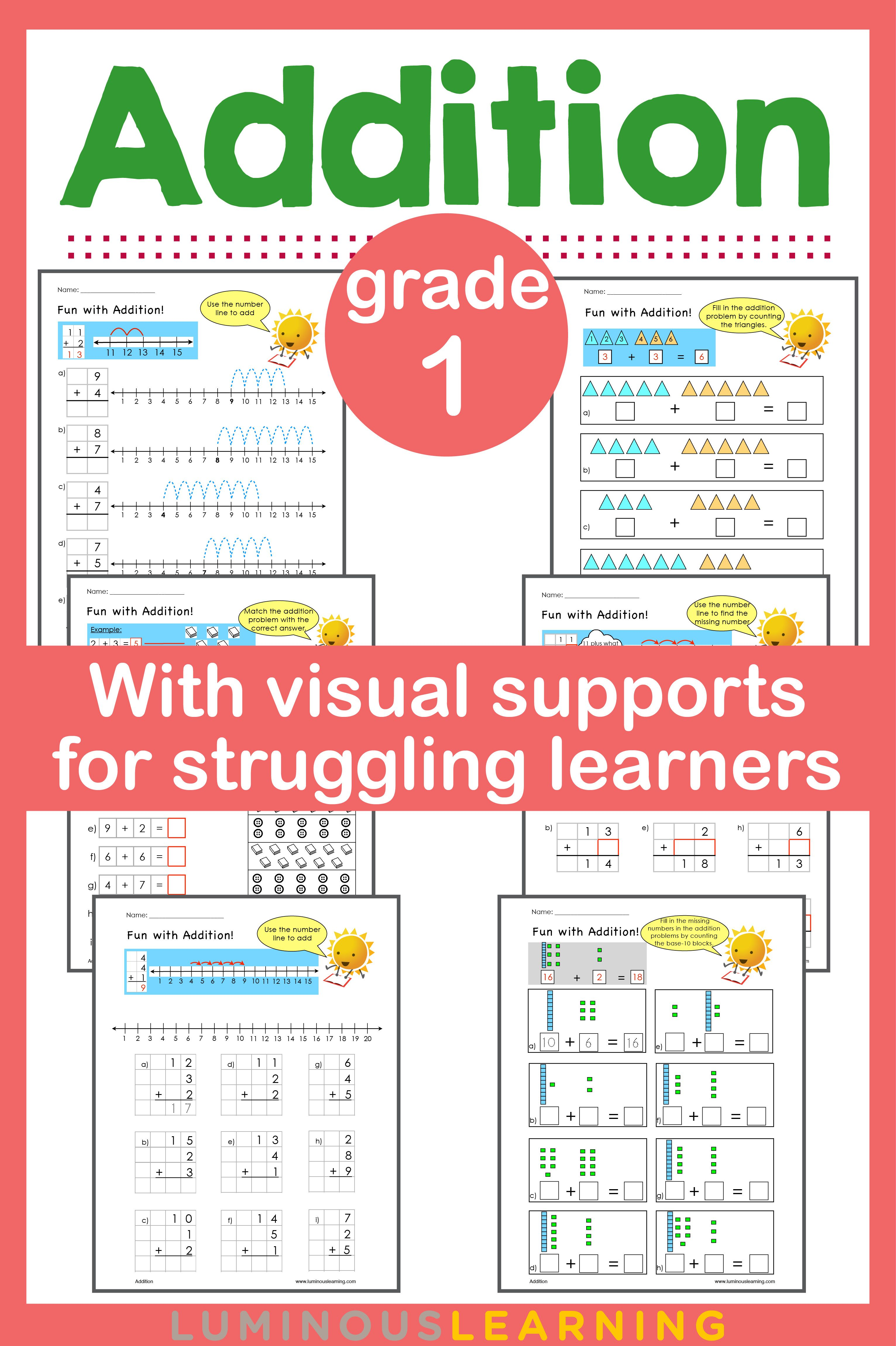 Grade 1 Addition Workbook: Making Math Visual | Math skills, Math ...