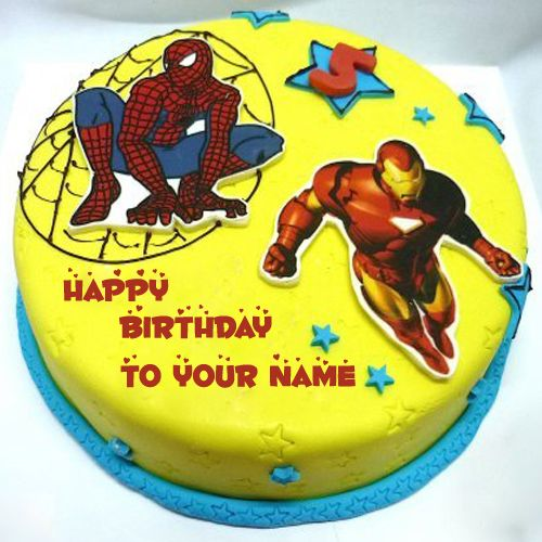 Spiderman And Iron Man Birthday Cake With Your Name