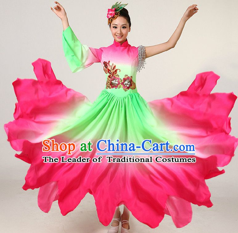 Cute Kids clothing Girls hmong Dancing clothes Chinese folk dancewear costume