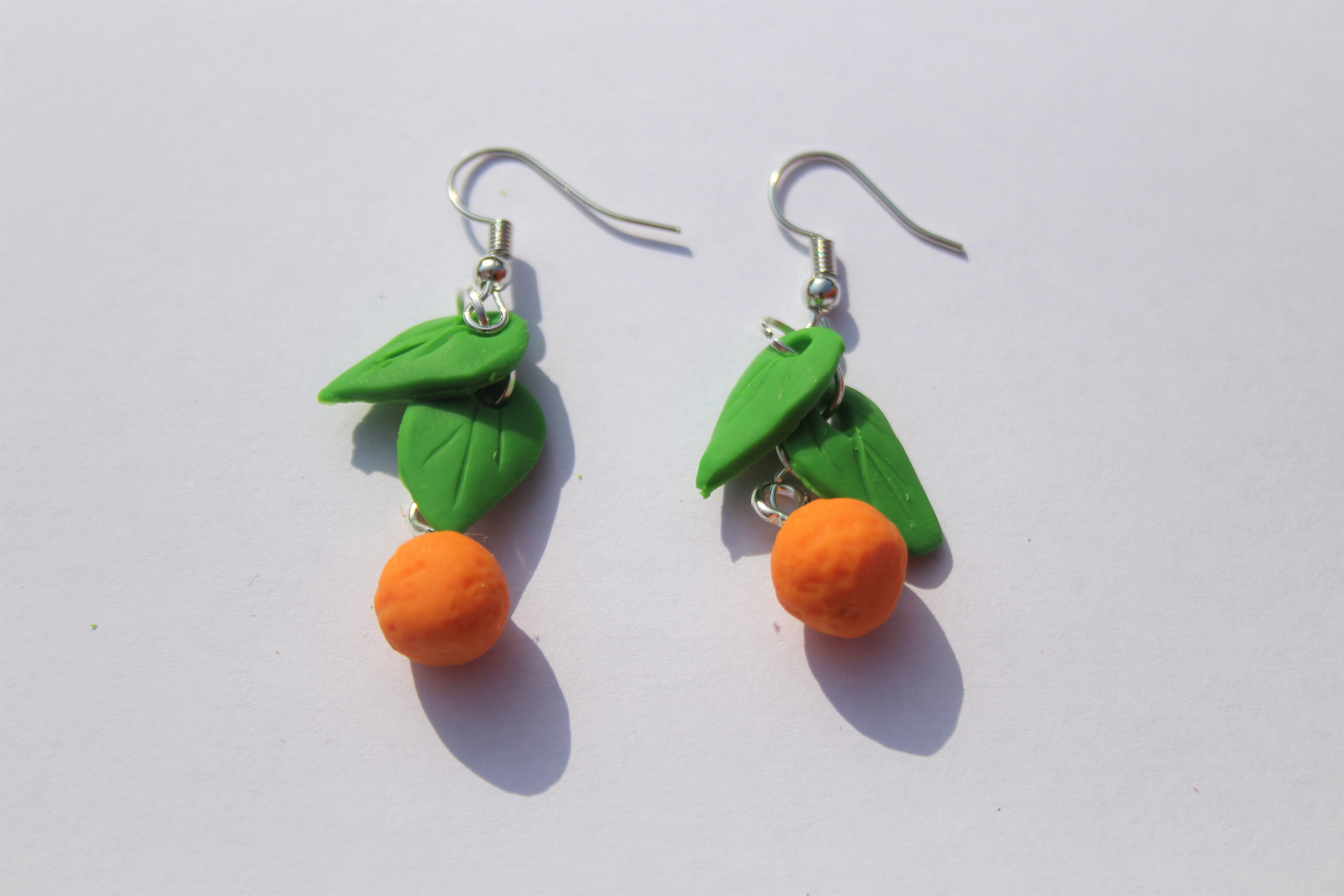 Cute Citrus Orange Earrings Handmade Polymer Clay