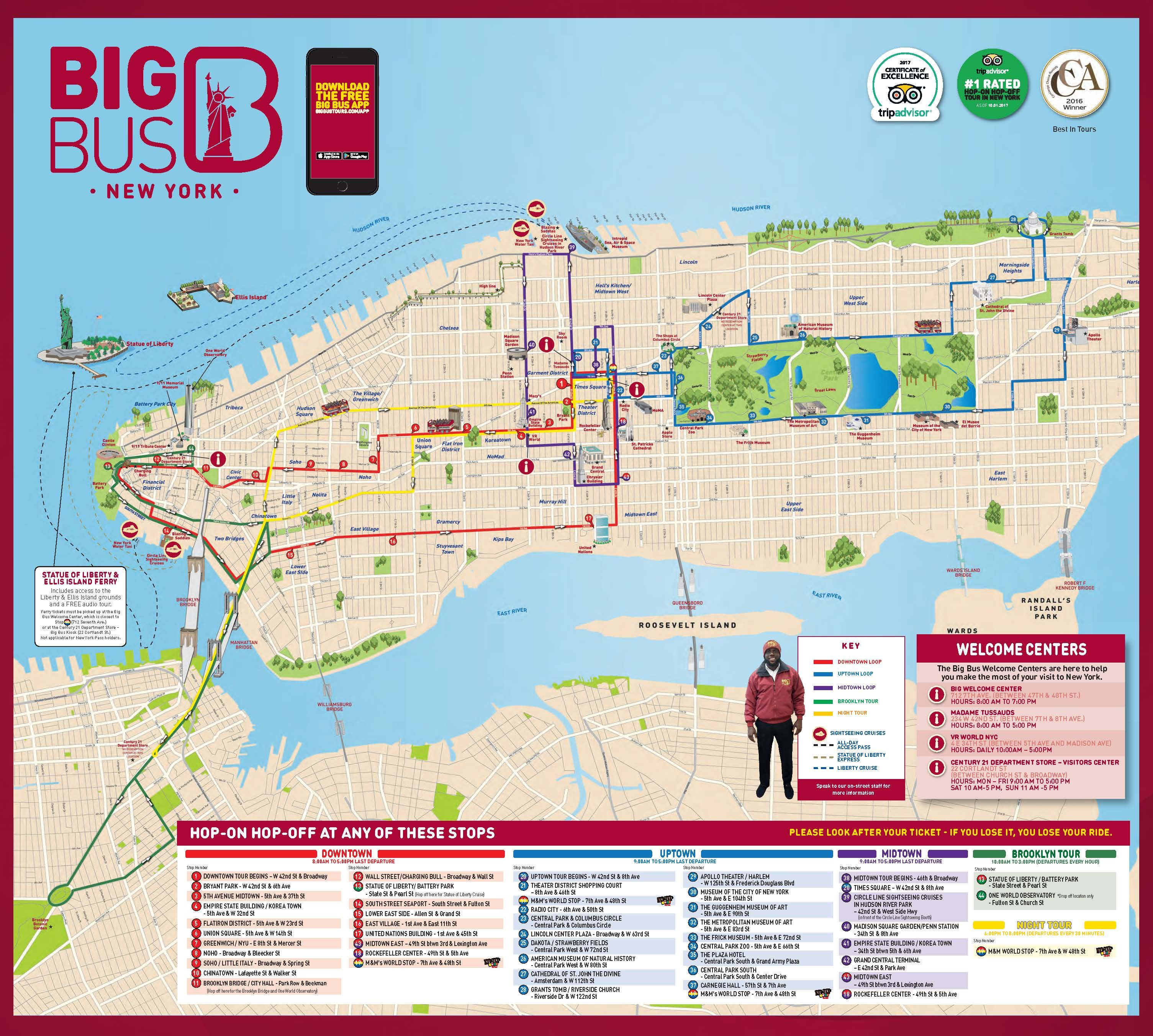 Big Bus Route New York City Map Map Of New York Nyc Map