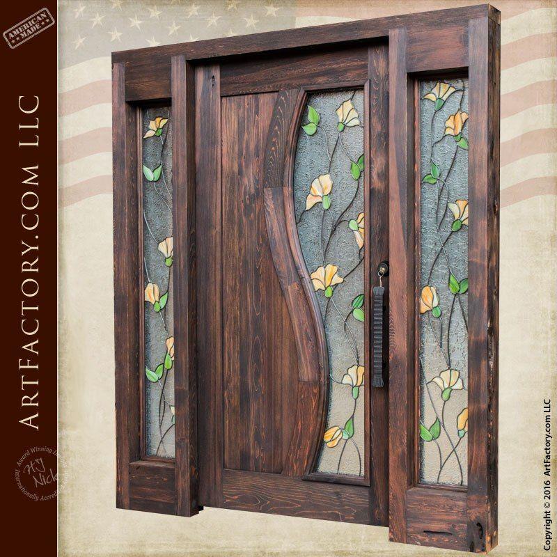 Tulip Stained Glass Door Craftsman Entry Door With Sidelights Door Glass Design Wooden Door Design Door Design Interior