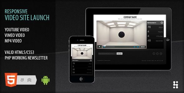 Responsive video site launch coming soon | Video site and Template