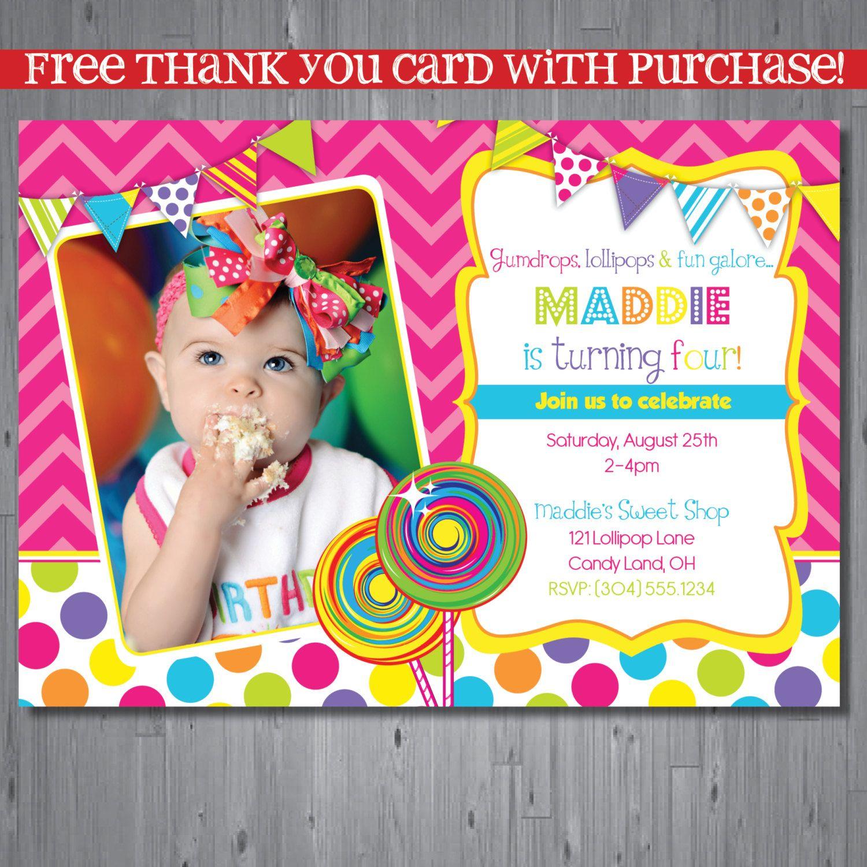 Invitations Candy Land Partay Printable Birthday