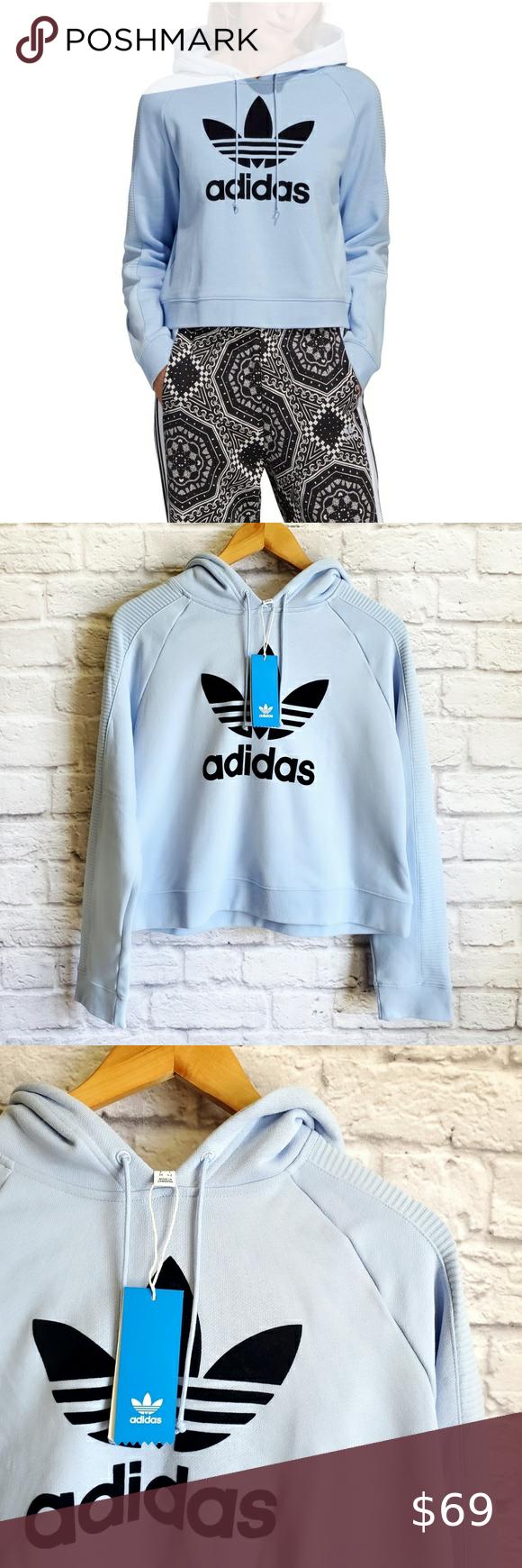 Adidas Crop Hoodie Light Blue Color Oversized Look Adidas Tops Sweatshirts Hoodies Adidas Cropped Hoodie Crop Hoodie Sweater Grey Adidas Hoodie [ 1740 x 580 Pixel ]