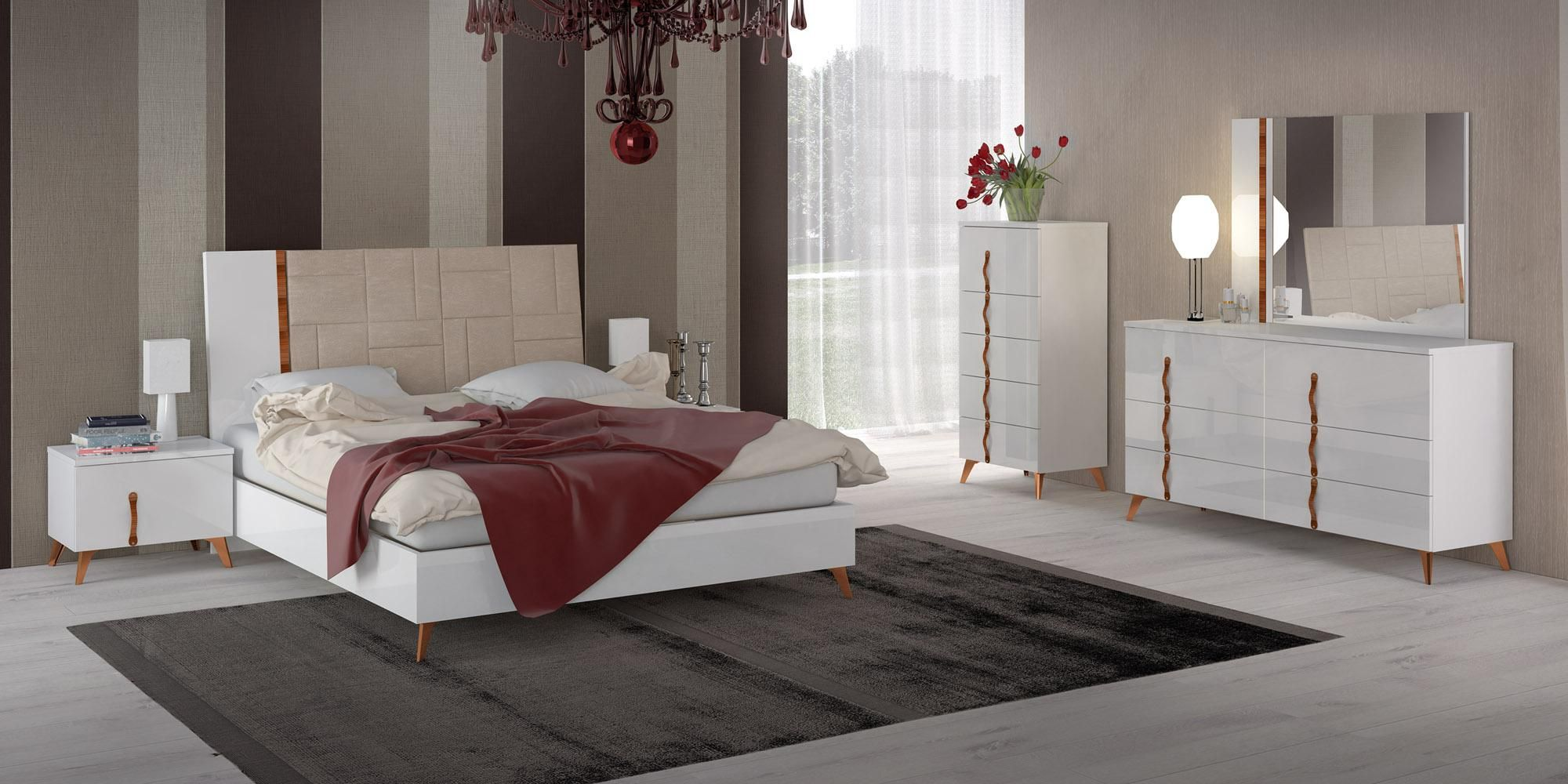 Contemporary Italian Bedroom Furniture In White Finish W Leather Headboard Bed Prime Class Modern Bedroom Furniture Italian Bedroom Furniture Italian Bedroom