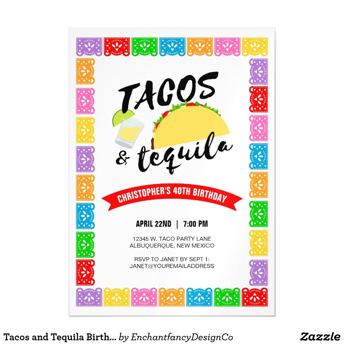 Tacos and Tequila Birthday Party Magnetic Card Add a shot of fun