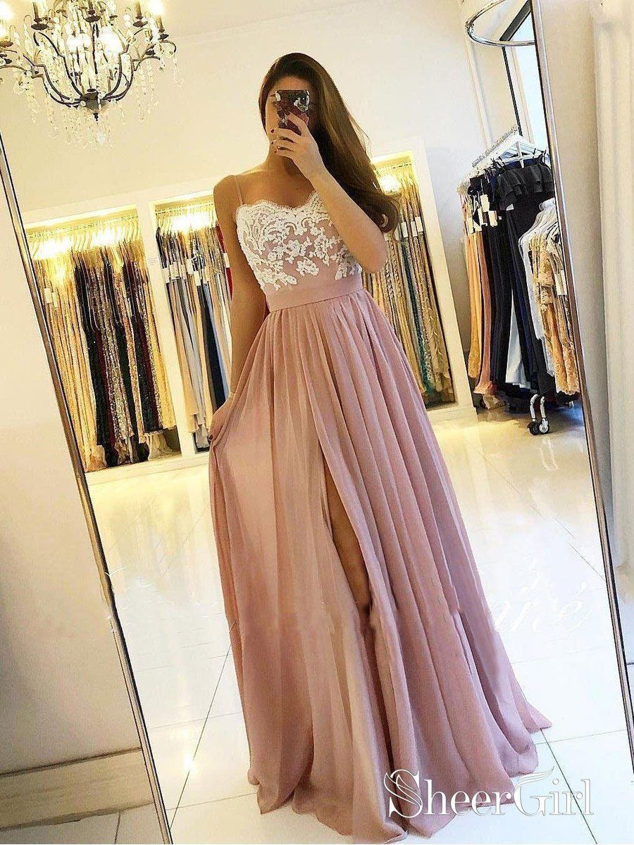 11cdf81fe97 Lace appliqed bodice spaghetti strap dusty rose prom dresses. Plus size  formal evening ball gowns. This dress can be custom made in any color and  ...