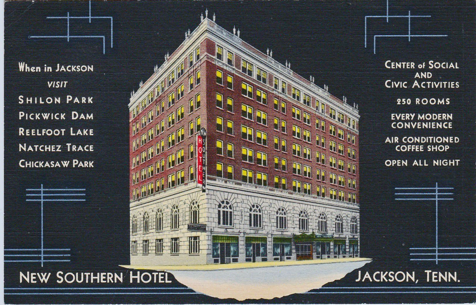 New Southern Hotel Jackson Tn Postmarked Feb 23 1939 Home Of