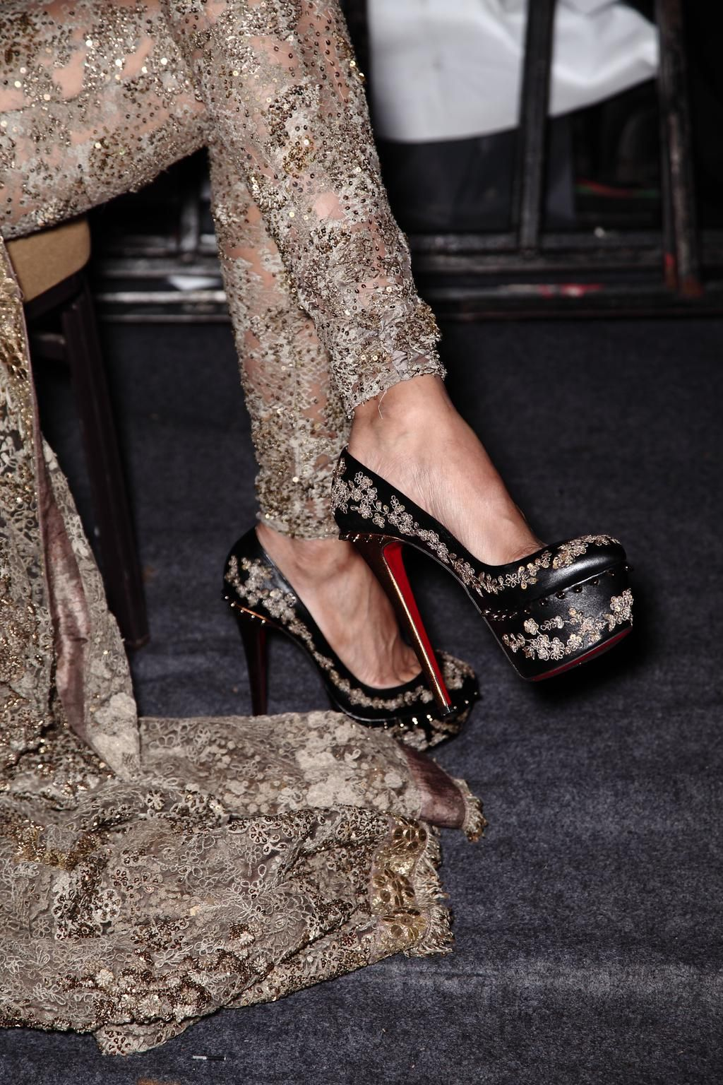 93cca9ff8532  louboutinworld Jul 31 At India Couture Week  AICW2015  Sabyasachi s   Baroque collection debuted in embroidered Christian Louboutin shoes