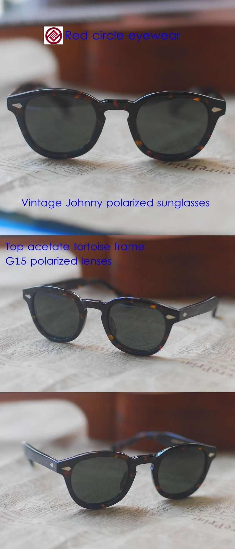 1a5092a0a2d Sunglasses 48559  Vintage Johnny Depp Polarized Sunglasses Top Tortoise  Acetate Frame G15 Lenses -
