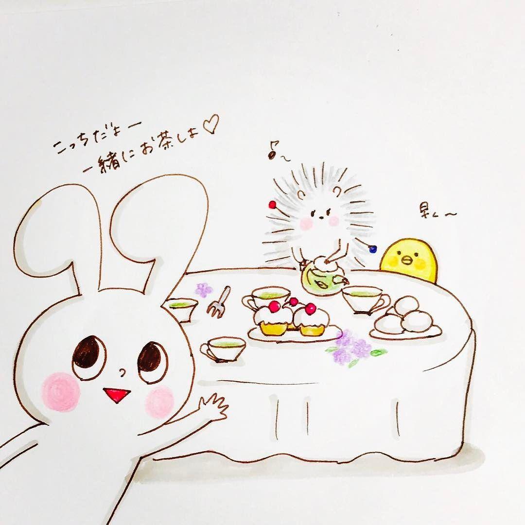 小さなお茶会に誘われました mochi-rabbits invite you to tiny tea