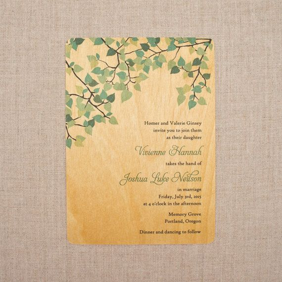Real Wood Wedding Invitations Spring Green Leaves