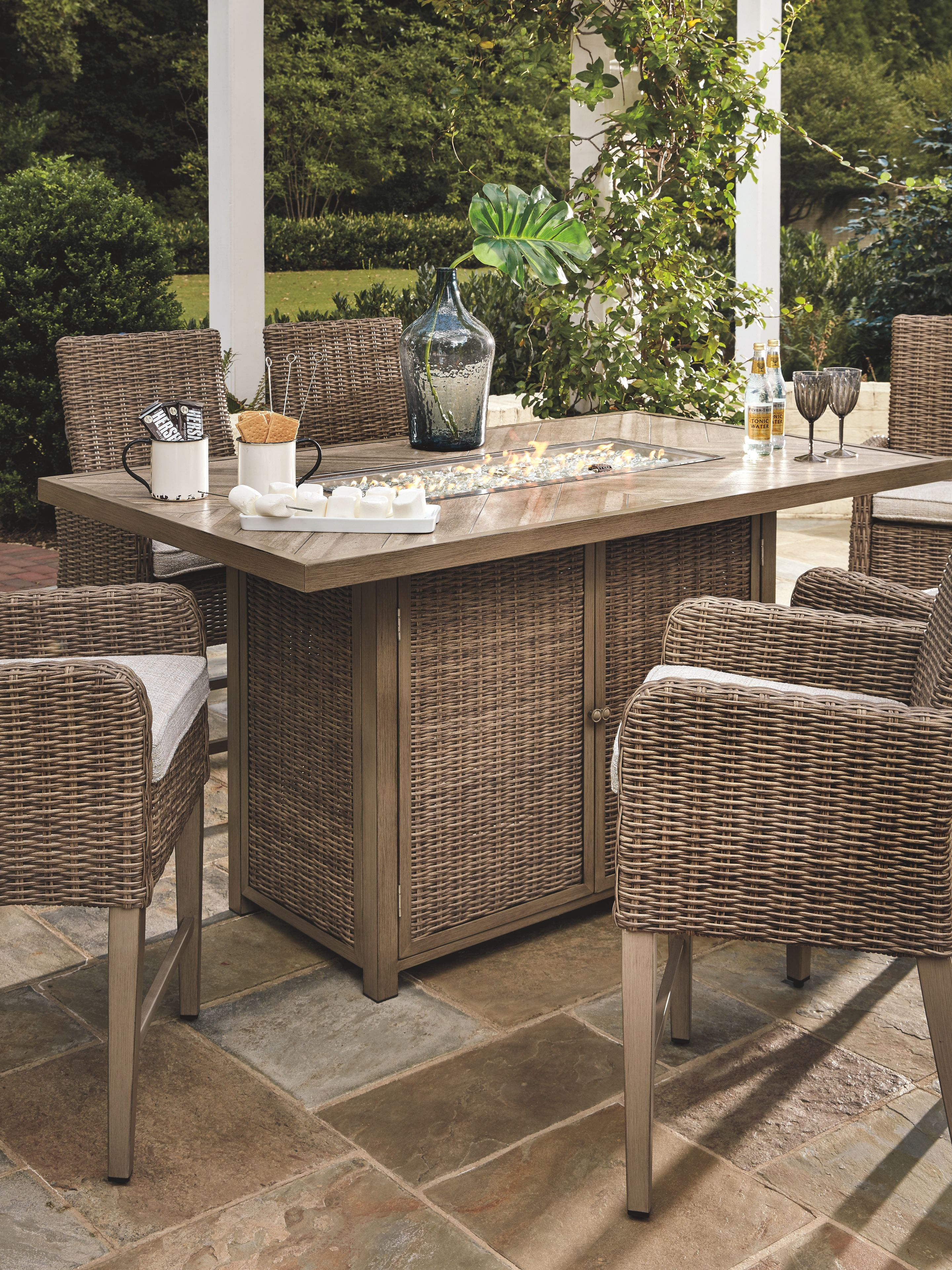 Marvelous Beachcroft Bar Table With Fire Pit Beige Products In 2019 Home Interior And Landscaping Spoatsignezvosmurscom