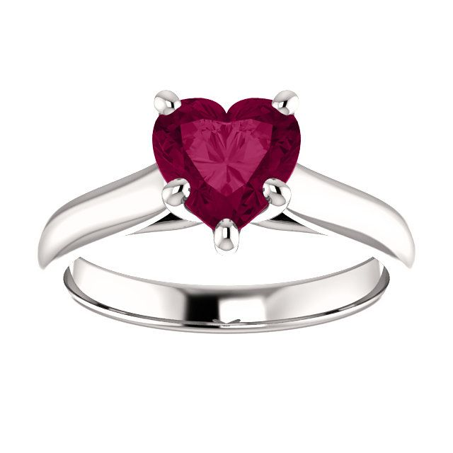10kt White Gold 7x7mm Center Heart Garnet Solitaire Engagement Ring St122797 1242 P Price 369 99 Diamonds Ring Gold Ga Jewelry Fashion Rings Jewels