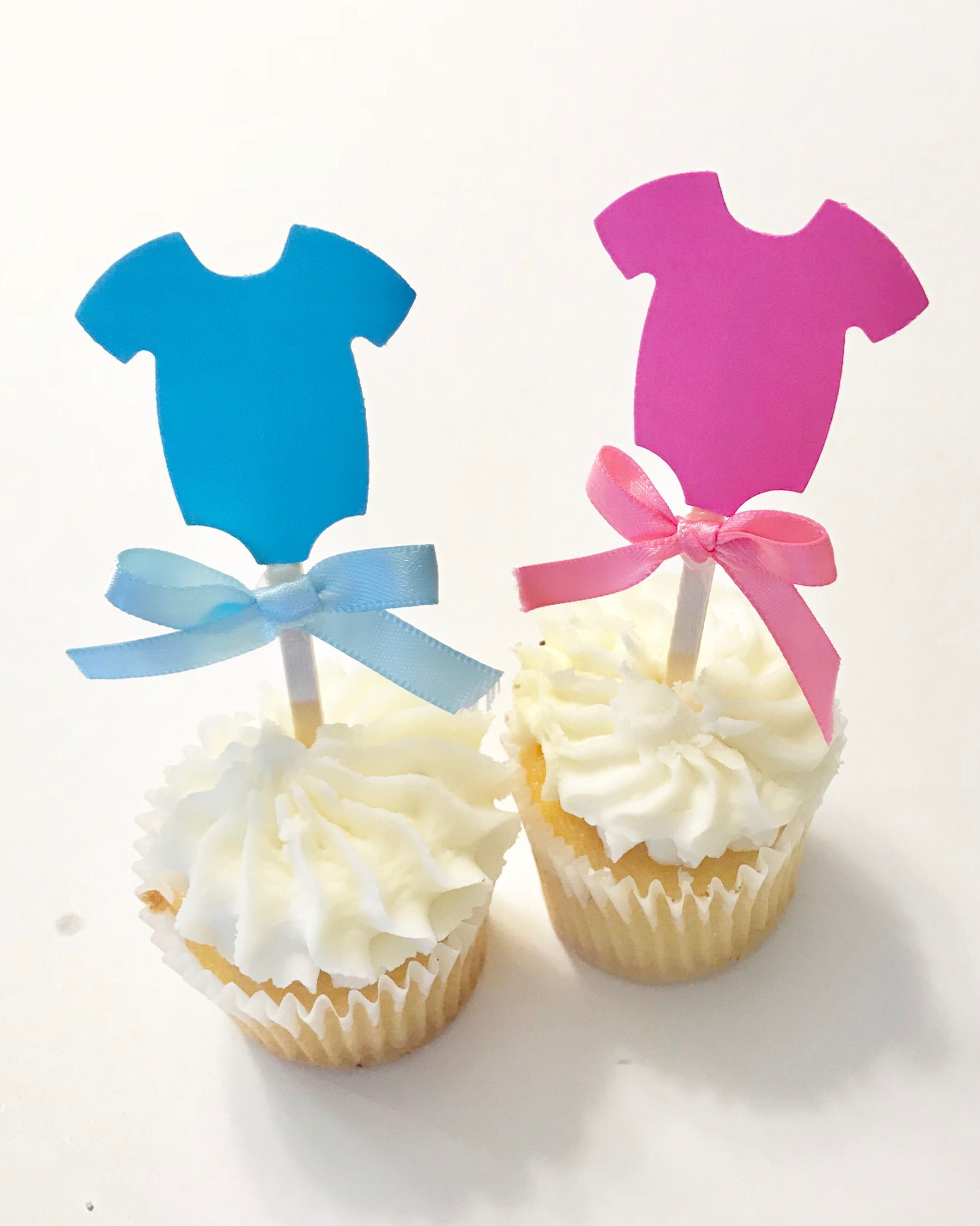 Gender Reveal Cupcake Toppers Gender Reveal Decorations Onesie Cupcake Topper With A Bow Cha Revelacao Decoracao Bolos De Cha Lembrancinha Cha Revelacao