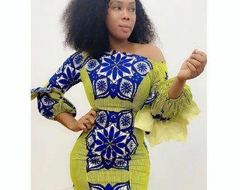 African Print Midi Dress/Double Peplum Dress/African Clothing/Ankara Dress/Prom dress #africanprintdresses