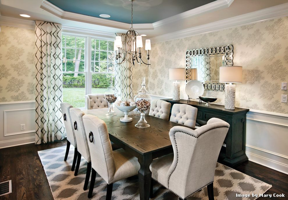 21 elegant dining space with patterned wallpapers and low ...