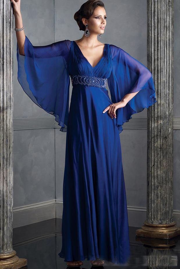 Royal Blue Evening Gown with Flowing Long Sleeves | Royal blue ...