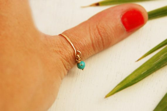 Thin gold ring, dainty ring, tiny turquoise ring, minimalist ring, simple gold ring, gold ring, gold filled ring by maylovely on Etsy